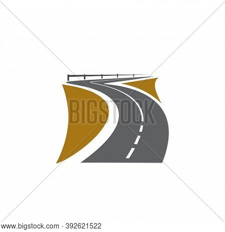 Road Pathway Or Highway Icon And Path Way Roadside, Vector Asphalt Avenue Sign. Street Or Speed Road