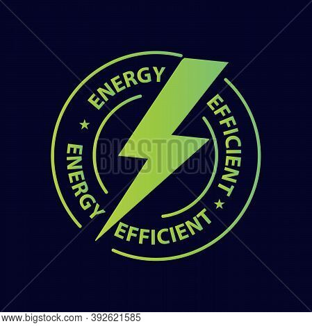 Energy Efficient Icon, Green Energy Stamp  Vector Illustration