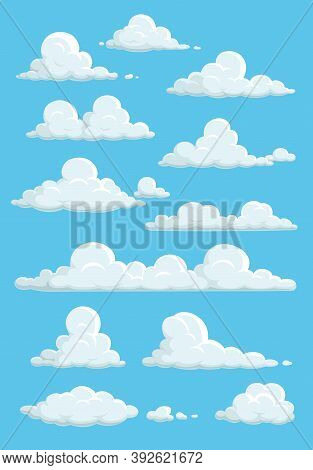 Cartoon Clouds In Blue Sky. Vector White Soft And Fluffy Spindrift Or Cumulus Clouds Flying On Heave
