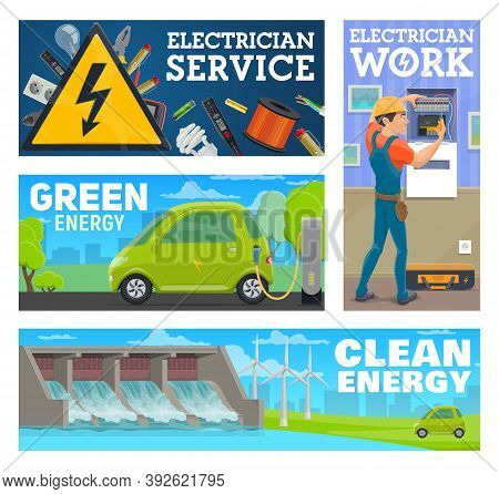 Electrician Service Worker And Clean, Green Energy Banner. Worker Repairing Or Maintaining Breaker P