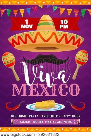 Viva Mexico Vector Flyer With Mexican Sombrero, Mustaches And Maracas. Flag Garlands, Red Jalapeno A