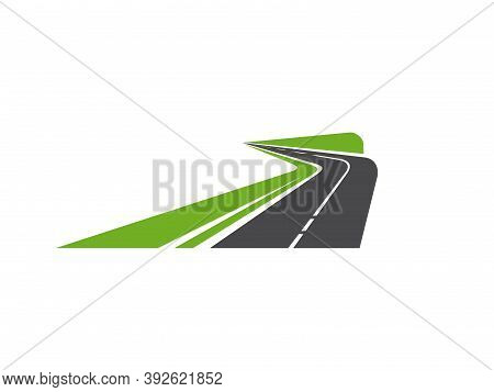 Road Pathway Or Highway Icon Of Path Way Asphalt, Vector Road Sign Or Speed Avenue Signs. Winding St
