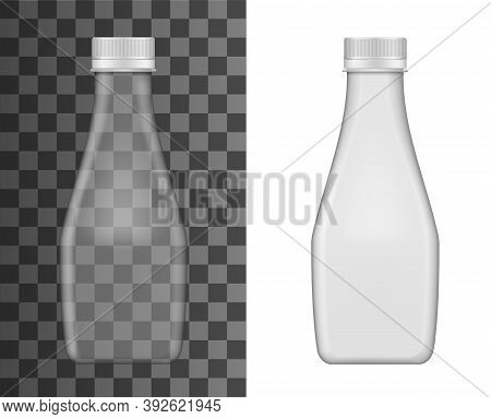 Glass Milk Bottle Vector Mockup, Realistic Closed Empty Flask With Lid Isolated On Transparent Backg