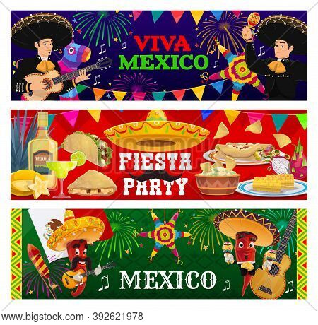 Viva Mexico, Fiesta Party Vector Banners. Mariachi Musicians, Jalapeno Chili Peppers In Sombrero Pla
