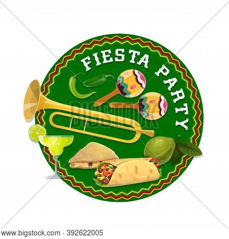 Mexican Fiesta Party Food And Drinks. Vector Maracas, Tequila Margarita, Burrito, Chilli Peppers And