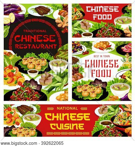 Chinese Cuisine Restaurant Dishes Banner. Stir Fried Beef, Wonton, Noodles And Funchoza Salad With S