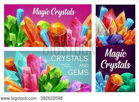 Magic Crystals And Gems, Vector Gemstones Precious And Semiprecious Jewel Rocks, Gem Stones. Natural