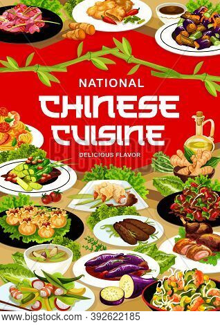 Chinese Cuisine Meals Vector Banner. Sichuan And Peking Duck In Sauce, Wonton, Funchoza Salad And No