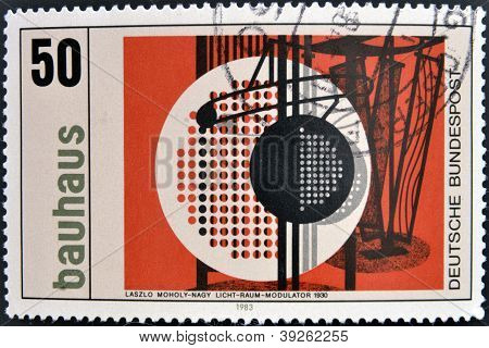 GERMANY - CIRCA 1983: A stamp printed in Germany dedicated to Bauhaus shows licht & raum modulator b