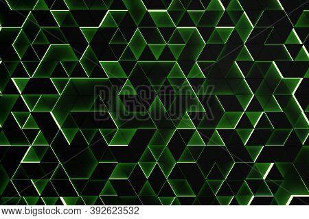 Random Shifted Black Triangle Geometrical Pattern Background With Green Glow, Minimal Futuristic Tec