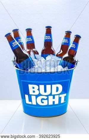 Calgary Alberta, Canada. Nov 01, 2020. A Bud Light Beer Bucket With Six Beer Bottles With Ice On A W