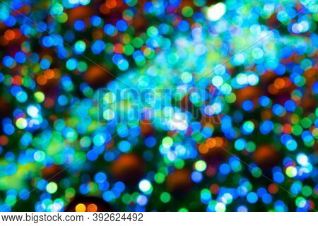 Blurred Colored Spots Of Green Hue, Unfocused Background