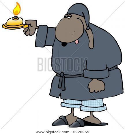 This illustration depicts a dog in sleepwear holding out a candle. poster
