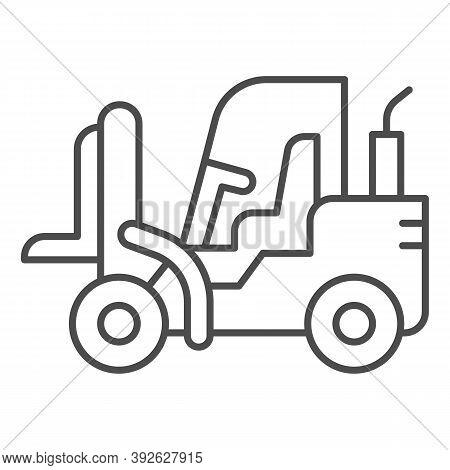 Loader Thin Line Icon, Heavy Equipment Concept, Fork Lift Sign On White Background, Forklift Loader