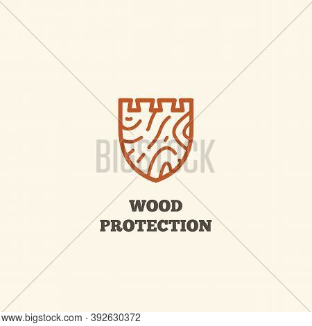 Logo Design Template With Wooden Shield For Wood Shop, Carpentry, Woodworkers, Wood Working Industry