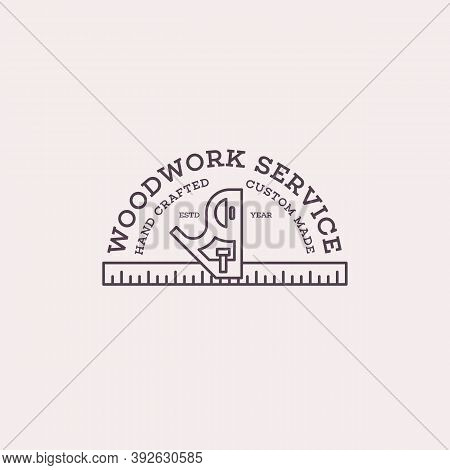 Logo Design Template With Combination Square For Wood Shop, Carpentry, Woodworkers, Wood Working Ind