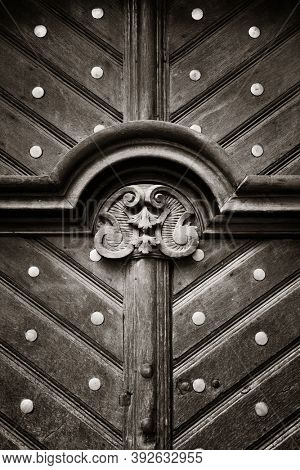 Wood door abstract patterns in Prague Czech Republic