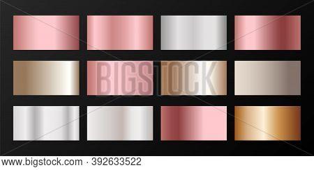 Silver, Platinum, Bronze, Pink Gold Vector Metallic Gradients. Badges Set. Smooth Chrome, Alloy, Alu