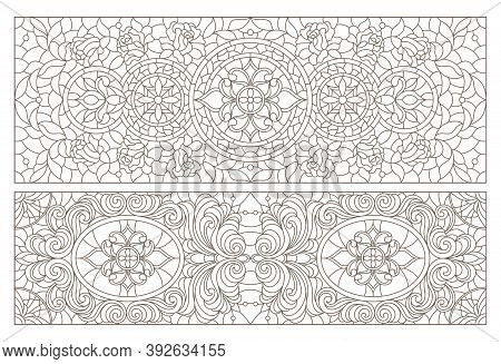 Set Contour Illustrations Of Stained Glass With Abstract Swirls And Flowers , Horizontal Orientation