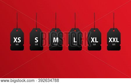 Xs, S, M, L, Xl, Xxl Size Tag Icon Set. Clothing Label. Shopping. Vector Eps 10. Isolated On Backgro
