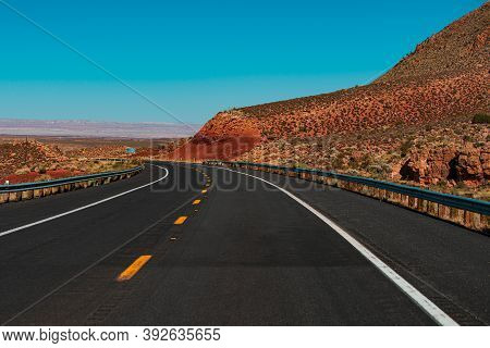 Route 66 In California. Barren Scenery, Endless Straight