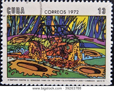 CUBA - CIRCA 1972: A Stamp printed in Cuba devoted to Symposium Against Yankee Genocide in Vietnam a