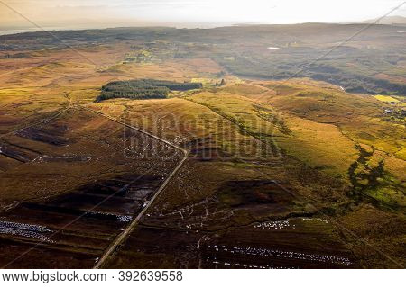 Aerial View Of Tymeen In The Bluestack Mountains In Donegal - Ireland
