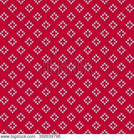 Red And White Christmas Sweater Fair Isle Style Rhombus Seamless Pattern. Knitted Winter Diamond Pat