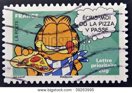 FRANCE - CIRCA 2008: A stamp printed in France shows Garfield circa 2008