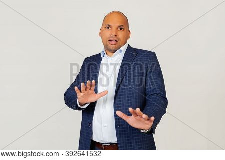 Portrait Of Shocked Young African American Businessman Guy, Scared And Frightened By Fear Expression