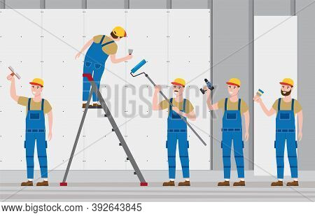 Set Construction Workers With Cordless Screwdriver, Brush, Plastering Trowel Tool, Rollerbrush In Wo