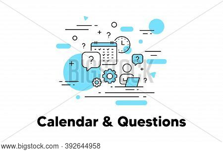 Clock And Calendar Line Icon. Timetable Schedule, Question Mark, Human Resources Concept Illustratio