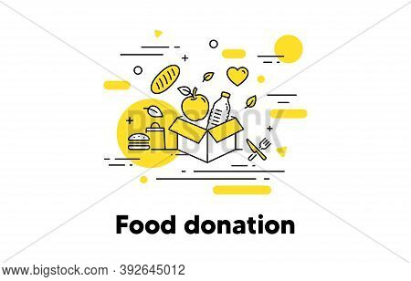 Food Donation Line Icon. Meal Box, Donate Food, Pantry. Share Meal, Food Charity Concept Illustratio