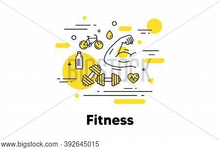 Fitness Strong Arm Line Icon. Muscle Hand, Muscular Gym Fit, Dumbbell Workout. Fitness Strength, Str