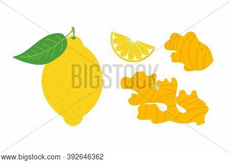 Set, Collection Of Vector Cartoon Style Ginger Roots And Lemon Icons. Healthy Antioxidant, Detox Foo