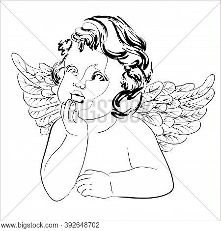 Vector Illustration Of Dreaming Cupid. Isolated Image Of An Angel With Wings.