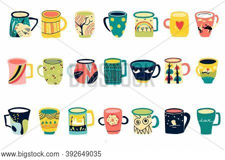 Cups Doodle Set. Collection Of Different Modern Coffee Tea Colored Mugs Decorated With Design Elemen