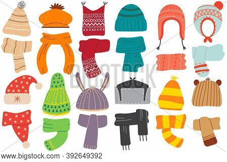 Winter Hats. Collection Of Colouring Woolen Cotton Knitting Autumnal Wintry Headwear Hats And Scarf