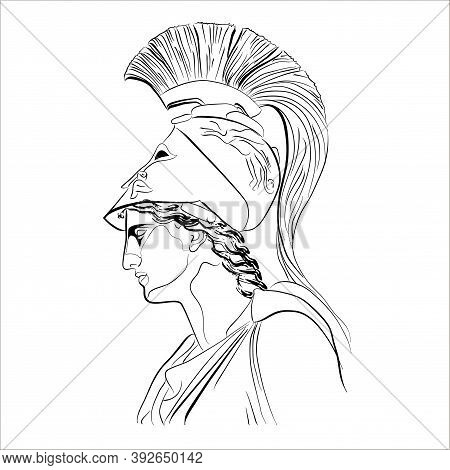 Character Of Ancient Roman Mythology. Vectoral Linear Illustration Of An Antique God.