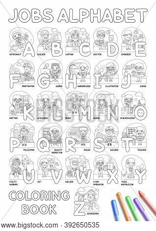 Childrens Alphabet Coloring Book With Cartoon Professions For Learning. Astronaut, Builder, Captain,