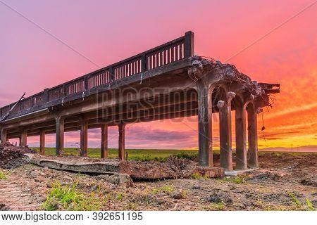 Last Sunrise Over The Old Whirokino Trestle Bridge.