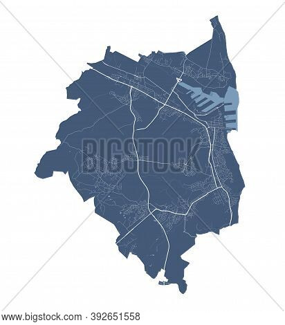 Gdynia Map. Detailed Vector Map Of Gdynia City Administrative Area. Cityscape Poster Metropolitan Ar