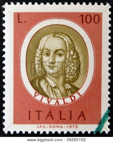 ITALY - CIRCA 1975: stamp printed in Italy dedicated to Famous musicians shows Antonio Lucio Vivaldi