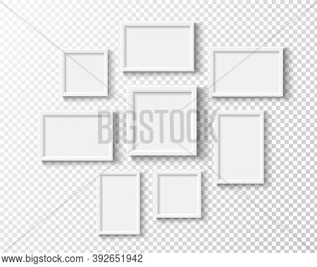 Photo Frames On Wall. White Picture Frame Set. Empty Realistic Gallery