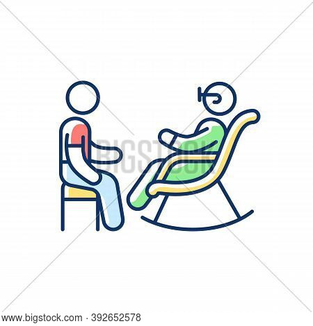 Senior Citizen Socializer Rgb Color Icon. Companions For Retired Persons. Providing Healthy Social I