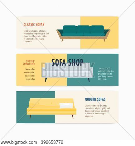 Set Of Advertising Templates For Sofa Shop With A Place For Text. Horizontal Banners For Couch Store