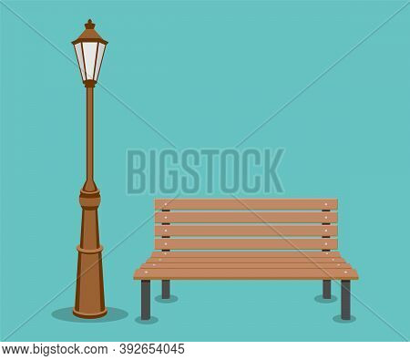 Bench And Streetlight Isolated On Background. Vector Illustration.