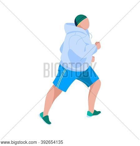Overweight Man Jogging Outdoors. Side View Of Guy In Sportswear Doing Sports. Weight Loss Process, A
