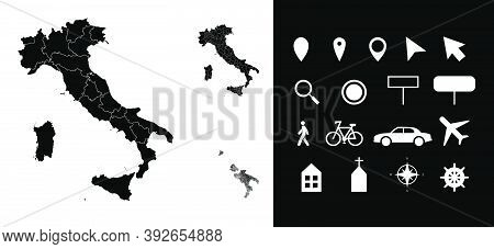 Map Of Italy Administrative Regions Departments With Icons. Map Location Pin, Arrow, Looking Glass,