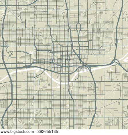 Detailed Map Of Oklahoma City City Administrative Area. Royalty Free Vector Illustration. Cityscape